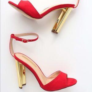 Lulu's Noah Red Suede Ankle Strap Heels